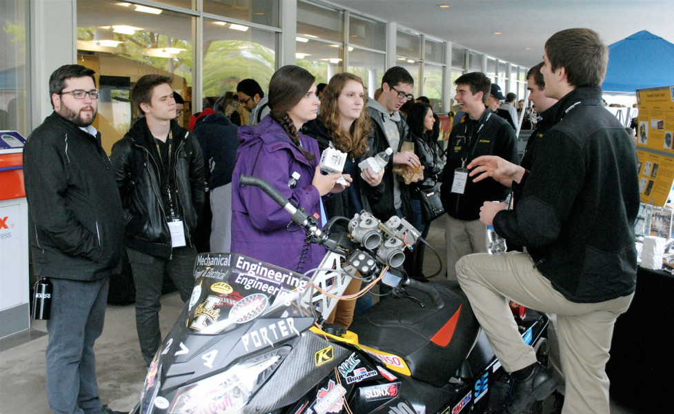 Joleen Evans | Argonaut The Clean Snowmobile Team presents during the University of Idaho Annual Engineering Design EXPO, an event which showcases senior capstone projects, it took place Friday at the Bruce Pitman Center.