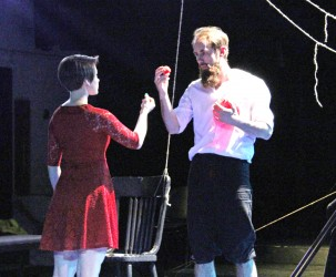 """Graduating senior David Lenz and second-year graduate student Christina Holaday rehearse his play """"Heartstrings."""" The play with be performed Saturday at 7:30 p.m. in the Forge Theatre."""
