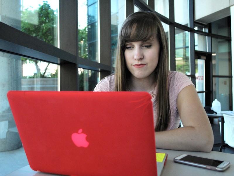 Joleen Evans | Argonaut Freshman Leah Uptmor works on homework Monday in the fishbowl of the UI Library.