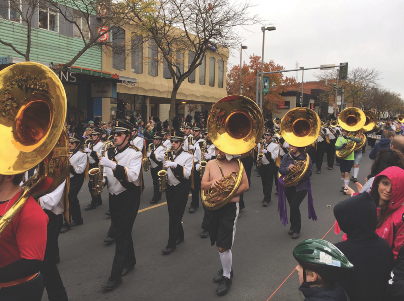 Eric Turner | Courtesy University of Idaho Vandal Marching Band performs in the 2015 Homecoming Parade in downtown Moscow.