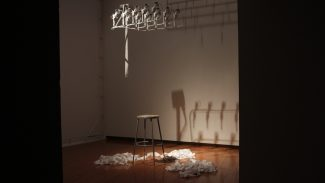 The artificial killing machine exhibit at the Prichard Art Galery installed printing out reciepts every time an American drone strikes.